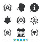 Laurel wreath award icons. Prize cup for winner. Stock Photos