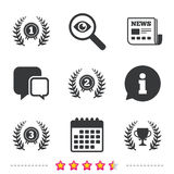 Laurel wreath award icons. Prize cup for winner. Royalty Free Stock Photography