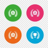 Laurel wreath award icons. Prize cup for winner. Stock Image