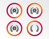 Laurel wreath award icons. Prize for winner. Laurel wreath award icons. Prize for winner signs. First, second and third place medals symbols. Infographic design Royalty Free Stock Photography