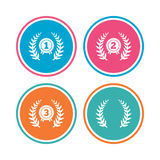 Laurel wreath award icons. Prize for winner. Laurel wreath award icons. Prize for winner signs. First, second and third place medals symbols. Colored circle Royalty Free Stock Photography