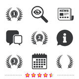 Laurel wreath award icons. Prize for winner. Royalty Free Stock Image