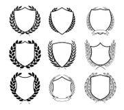Laurel Wreath Badges Vector Mall för utmärkelser, kvalitets- fläck, diplom och certifikat stock illustrationer