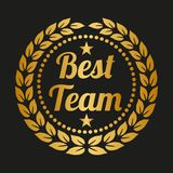 Laurel wreath on black background. Golden laurel wreath on black background. Vector illustration Royalty Free Stock Photography