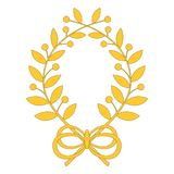 Laurel wreath with bow. Vector illustration of laurel wreath with bow isolated on a white background. Can be used for graphic design, textile design or web Royalty Free Stock Photo