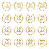 Laurel wreath collection for jubilee Stock Image