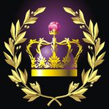 Laurel wreath and crown royalty free illustration