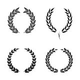 Laurel wreath foliate symbols set. Black circular silhouettes of laurel wreath with leaves for award, achievement. Vector Royalty Free Stock Images