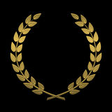 Laurel wreath of gold on a black background vector illustration