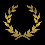 Laurel wreath of gold on a black background. On the image presented laurel wreath of gold on a black background Stock Images