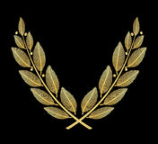 Laurel wreath of gold foil metall texture isolated on black Stock Photography