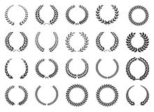 Laurel wreath collection. Laurel wreath gold icon collection royalty free illustration