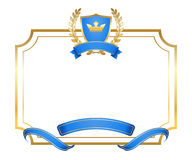 Laurel wreath gold icon shield frame crown Royalty Free Stock Image