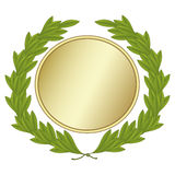 Laurel Wreath With Gold-Medaille Stockfoto