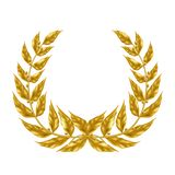 Laurel wreath with golden leaves realistic vector. Golden laurel wreath 3d realistic vector isolated on white background. Ancient symbol of triumph and glory royalty free illustration