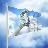 Laurel wreath hand held by a bronze statue - 3D render flag conc Royalty Free Stock Image