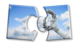 Laurel wreath hand held by a bronze statue Royalty Free Stock Photo