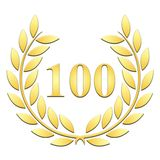 Golden Laurel wreath for 100th anniversary on a white background royalty free illustration
