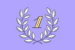 Laurel wreath icon with number One Royalty Free Stock Photo
