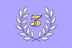 Laurel wreath icon with number Three Stock Photography