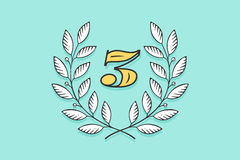 Laurel wreath icon with number Three Stock Photos