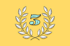 Laurel wreath icon with number Three Royalty Free Stock Photos