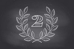 Laurel wreath icon with number Two Royalty Free Stock Photography