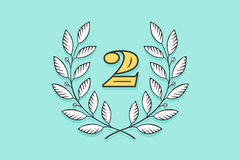 Laurel wreath icon with number Two Royalty Free Stock Image
