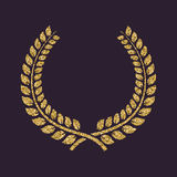The laurel wreath icon. Prize and reward, honors symbol. Gold sparkles and glitter Stock Images