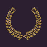 The laurel wreath icon. Prize and reward, honors symbol. Gold sparkles and glitter Stock Image