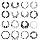 Laurel wreath icons. In black stock illustration