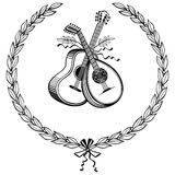 Laurel wreath with instruments. Laurel wreath with guitar and lute Stock Photo