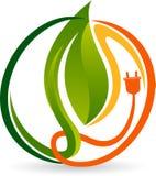 Green energy plug logo stock illustration