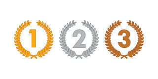 Laurel wreath medals. Laurel wreath representgin gold, silver and bronze medal, olympic concept vector illustration