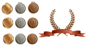 Laurel wreath and medals. Laurel wreath and gold silver and bronze medals Stock Photography