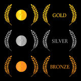 Laurel Wreath Medals 2 Stock Images