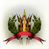 Laurel wreath with red ribbon Royalty Free Stock Photos