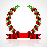Laurel wreath with red ribbon Royalty Free Stock Photography
