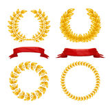 Laurel wreath and red ribbons Royalty Free Stock Photo