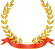 Laurel wreath and ribbon Stock Image