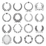 Laurel Wreath round Ceremonial Frames. A set of Nine High Detail Ceremonial Frames. With LAurel Wreaths, leaves, Corn, wheat royalty free illustration