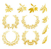 Laurel Wreath, set. Computer illustration, isolated on the white Stock Photos