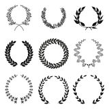 Laurel wreath. Set of laurel wreath silhouettes in black color royalty free illustration