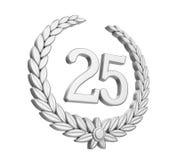 Laurel Wreath 25th årsdag isolerat silverbröllopbegrepp Royaltyfria Bilder