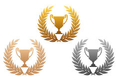 Laurel wreath with trophy Royalty Free Stock Photography