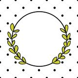 Laurel wreath vector frame with black polka dots on white background Royalty Free Stock Photos