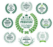 Laurel Wreath Vector Green Collection Royalty Free Stock Image