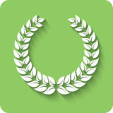 Laurel Wreath. White Laurel Wreath  on green background. Vector illustration Stock Images