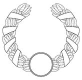 Laurel wreath of the winner. Black a white contour. Vector illustration. Isolated on a white background Stock Image