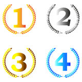 Laurel wreath winners set. Illustrations of the numbers one through four, each surrounded by a laurel wreath, in orange, silver, gold and blue royalty free illustration